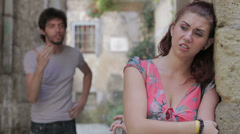 Relationship difficulties, couple fighting outdoors,the woman is crying - stock footage