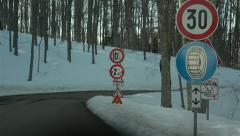 Snow road signs Stock Footage