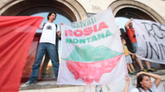 Protest rally against cyanide gold exploitation at rosia montana romania - en Stock Footage