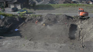 Stock Video Footage of construction, ground compacting, dusty hot dirty work, wide shot
