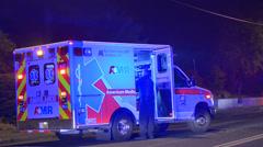 Ambulance At Night Stock Footage