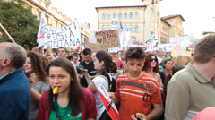 protest rally against cyanide gold exploitation at rosia montana romania - en - stock footage