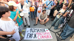 Stock Video Footage of protest rally against cyanide gold exploitation at rosia montana romania - en