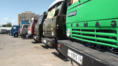Row of Kamaz trucks in Dushanbe Stock Footage