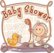 Baby Shower - Vector Cartoon Invitation Stock Illustration