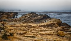 spectaculor rock formations at  point lobos state marine conservation area - stock photo