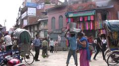 Crowded street in Kathmandu Stock Footage