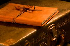 old, vintage leather suitcase with leather bound journal on top - stock photo