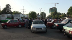 Taxi stand in Dushanbe, Tajikistan Stock Footage