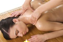 massage at spa - stock photo
