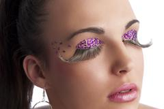 Creative make up with long eyelashes Stock Photos