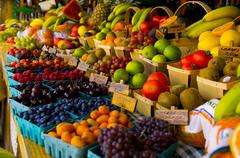 Fresh fruit stand Stock Photos