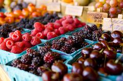 Fresh fruit stand Stock Photos