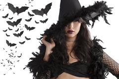 Portrait of the young witch posing with black hat Stock Photos