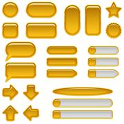 Gold glass buttons, set - stock illustration