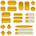Stock Illustration of Gold glass buttons, set