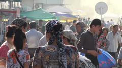 Busy fruit market, early morning, beautiful, Tajikistan, Central Asia Stock Footage