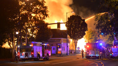 Huge Fire Destroys Apartment 25 Stock Footage