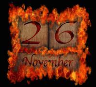 Stock Illustration of burning wooden calendar november 26.