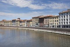 Arno river and waterfront buildings, pisa Stock Photos