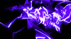 Abstract blue glass fragment curve & laser rays,flowing digital wave background Stock Footage