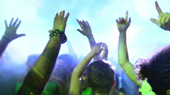 Wild crowd dancing in a outdoor disco - concert - ravers - party Stock Footage