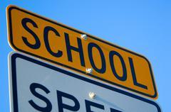 school speed limit sign - stock photo