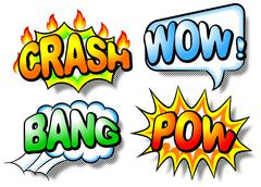 effect bubbles with chrash, wow, bang and pow - stock illustration