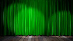 Loop light on green fabric curtain Stock Footage