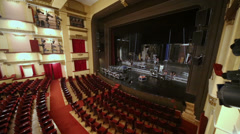 People work on stage in auditorium of Vakhtangov Theatre Stock Footage