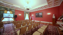 Rows of chair for journalists neat display in Red Hall Stock Footage