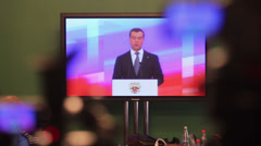D.Medvedev speaks during Enlarged meeting of State Council Stock Footage