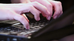 Humans fingers pushes buttons on black keyboard, closeup Stock Footage
