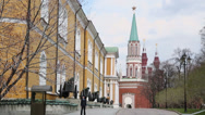 Stock Video Footage of Sentry at post on Moscow Kremlin territory