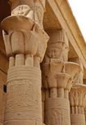 hathor head goddess columns - stock photo