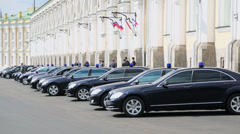 Governmental cars with flashers parked near Grand Kremlin Palace Stock Footage