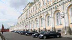 Special cars for VIP persons parked near Grand Kremlin Palace Stock Footage