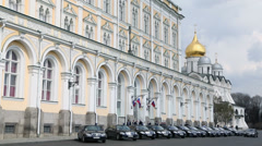 Car rides by road near Grand Kremlin Palace for State Council Stock Footage