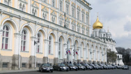 Stock Video Footage of Car rides by road near Grand Kremlin Palace for State Council