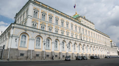 Policeman walks near Grand Kremlin Palace for State Council Stock Footage