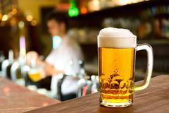 beer glass in a restaurant - stock photo