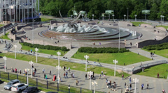 Fountain at square of Europe near Kiev railway station Stock Footage