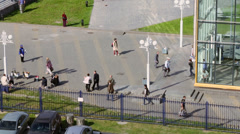 People walk by square near entrance of Kiev railway station Stock Footage