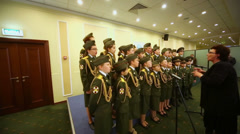 Army school cadets chorus perform at International Conference Stock Footage