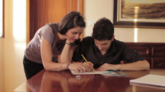 Students have fun doing  a architectural plan - lover - exam - laugh Stock Footage