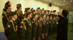Military school cadets chorus perform at Conference Stock Footage