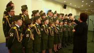Stock Video Footage of Military school cadets chorus perform at Conference