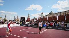 Sportsmen play basketball during Dudu Streetbasket fest Stock Footage
