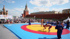 Sportsmen wrestle in Mongolian style during Forum Stock Footage