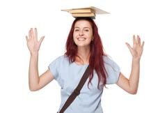 cute young student woman. - stock photo